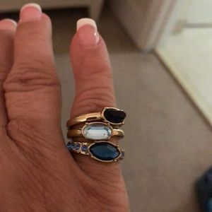 🌺😍🌸THREE RING IN ONE W BEAUTIFUL STONES🌼NEW🌺